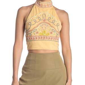 Free People Goa Embroidered Crop Top
